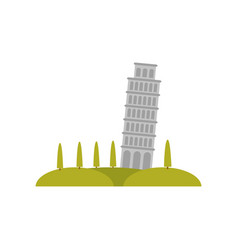 leaning pisa tower green hills and trees famous vector image