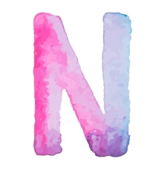 Letter N Colorful watercolor aquarelle font type vector