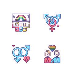 Lgbt community rgb color icons set vector