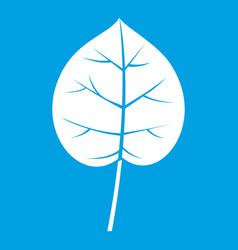 Linden leaf icon white vector