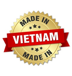 made in Vietnam gold badge with red ribbon vector image
