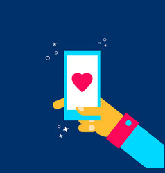 man on online dating mobile phone app concept vector image