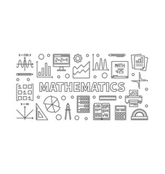 Mathematics line horizontal banner vector