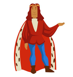 Medieval king in crown and cloak with fur ruler vector