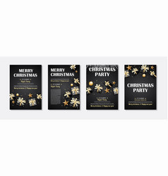 merry christmas and party gift box invitation vector image