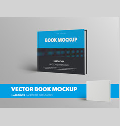 Mockup a closed book standing on its side in vector