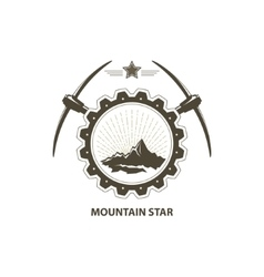 Mountains in Gear with Pickaxe and Star vector