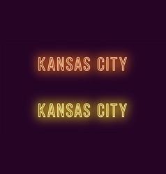 neon name of kansas city in usa text vector image