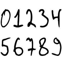 Numbers written marker casually askew vector image