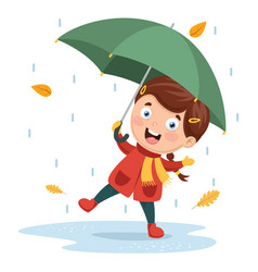 of girl playing under rain vector image