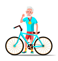 old man with bicycle city bike outdoor vector image