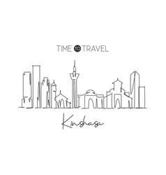 one single line drawing kinshasa city skyline vector image