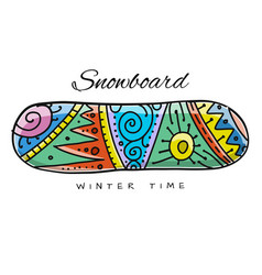 Ornated snowboard sketch for your design vector