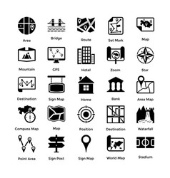 Pack of maps and navigation glyph icons 3 vector