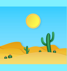 Paper desert summer landscape with paper cut vector