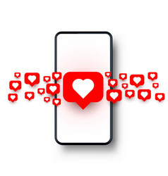 phone heart like social network white background vector image