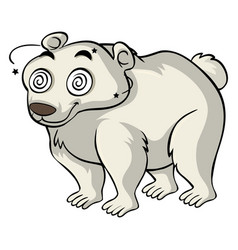 Polar bear with dizzy eyes vector