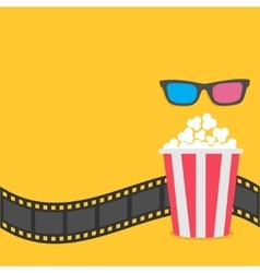 Popcorn Film strip border 3D glasses Red striped vector