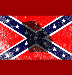Rebel civil war flag with georgia map vector