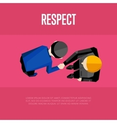 Respect banner Top view partners handshaking vector