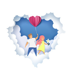 romantic couple in paper art vector image
