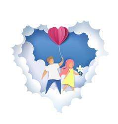 Romantic couple in paper art vector