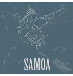 Samoa Swordfish Retro styled image vector image