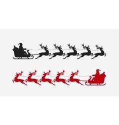 Santa sleigh reindeer silhouette Christmas symbol vector