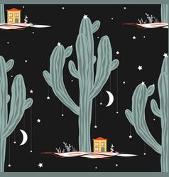 seamless pattern with high saguaro cactus vector image