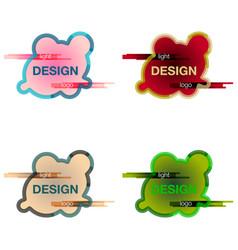 Set abstract logo design template creative wavy vector