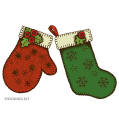 set hand drawn colored mitten stocking vector image