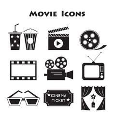 set movie icons vector image