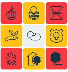 Set of 9 eco icons includes delete woods pin vector