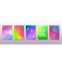 Set of colorful 2019 page template for calendar vector