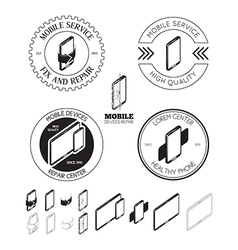 Set of mobile repair service logos labels badges vector image