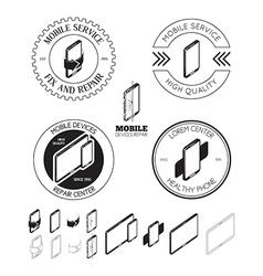 Set of mobile repair service logos labels badges vector