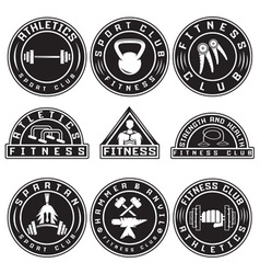 Set of various fitness labels and design elements vector image