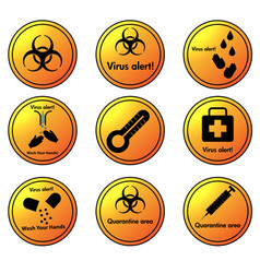 Set virus alert circular icons vector