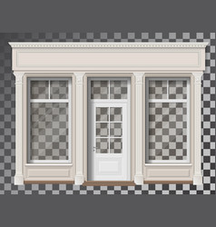 Shop front with column transparent window vector