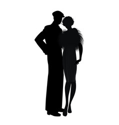 Silhouette couple retro style 20s or 30s man vector