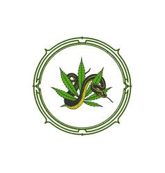 snake and cannabis logo design vector image