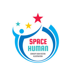 space human character - concept business logo sign vector image