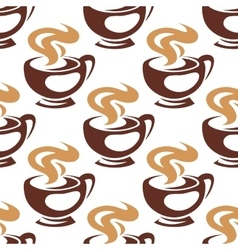 Steaming coffee cups or chocolate seamless pattern vector image