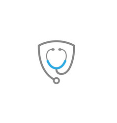 Stethoscope heart rate examination for logo vector