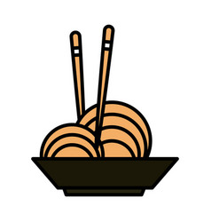 sushi oriental menu noodles in bowl with sticks vector image