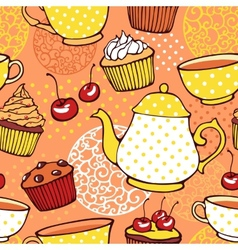 Tea and muffins sweet seamless pattern vector image