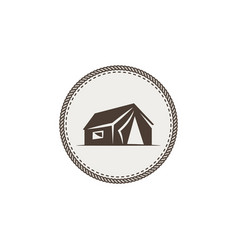 tent icon isolated monochrome camping design vector image