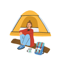 Traveling alone concept young woman sitting on vector