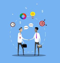 Two businessmen handshake vector