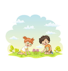 two children are happy about a flower in a meadow vector image